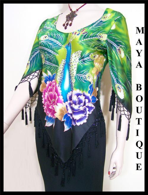 Silk Top Peacock Painted & Beaded schwarz Multi Maya Matazaro Größe M