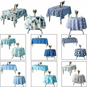 Imprime-Polyester-Nappe-De-Table-Housse-ronde-rectangle-Banquet-Fete-de-mariage
