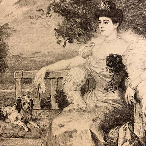 Humbert engraving water forte etching portrait of princess woman with her dogs