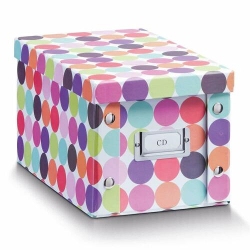 """für 20 CD Kiste Karton Case bunt 2x Zeller Aufbewahrung Box mit Deckel /""""Dots/"""""""