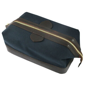 DAINES-amp-Hathaway-cuir-brun-amp-bleu-marine-toile-Trousse-de-toilette-avec-rouge