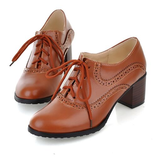 Brogue Women Lace Up Mid Block Heels Oxfords Wing Tip College Ladies Retro shoes