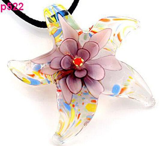 1pc Stylish Starfish flower Murano Lampwork Glass Pendant Necklace p522