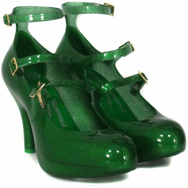molte sorprese Vivienne Westwood Anglomania Melissa Three Straps Elevated Elevated Elevated verde Glitter Heels  produttori fornitura diretta