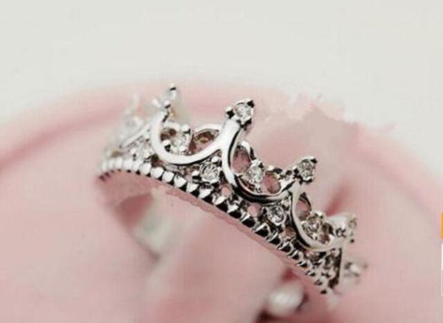 New Korean Style Hollow Caving Queen Crown Crystal Ring Elegant Women Fashion