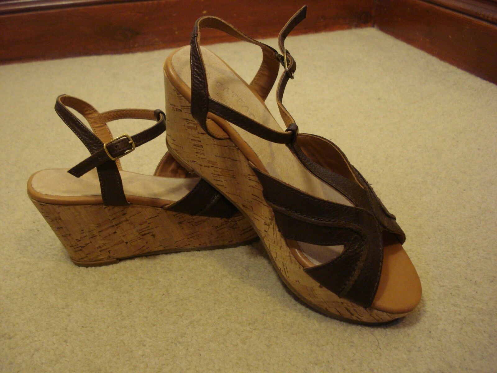 BNWOT Fat Face brown leather wedge heel sandals UK 5.5/38