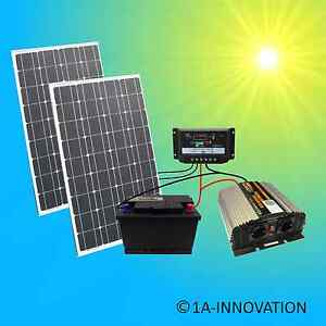 solaranlage komplettpaket 220v akku 200w solarmodul 1000w steckdose 100 watt ebay. Black Bedroom Furniture Sets. Home Design Ideas