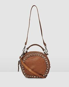 NEW Jo Mercer Campomaggi Midnight Round Cross Body Bag Cognac Leather