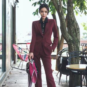 acc970e5ae Dettagli su Tailleur completo donna rosso giacca a manica lunga e pantalone  slim cod 7157