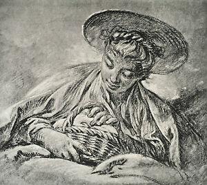 Gravur François Boucher Sammlung von Goncourt Ad.braun & Cie 1856