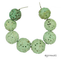 8 Natural Chinese Turquoise Graduated Hand Carved Round Beads 16-20mm 41g 82245