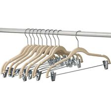 12 Pack Ivory Velvet Clothes Hangers With Clips Skirt Pants Ultra Thin Hangers
