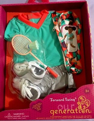 "Our Generation 18"" Doll Clothes Forward Swing Badminton Outfit Sports Accessory"