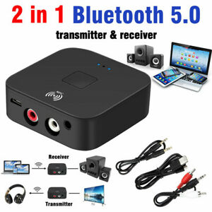 Bluetooth 5.0 Receiver Wireless 3.5mm Jack AUX NFC to 2 RCA Stereo Adapter