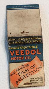 Vintage Girlie Matchbook Cover Veedol Motor Oil! Worn! No Reserve! d0106