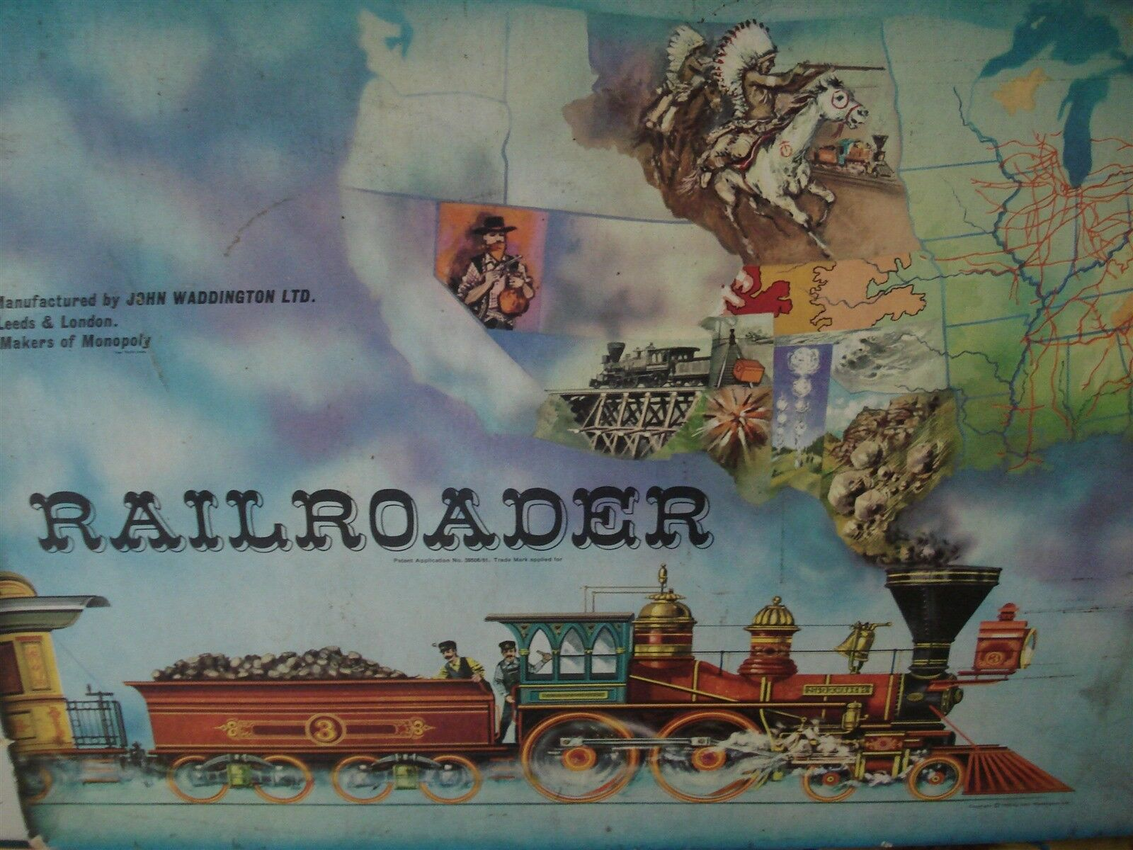RAILROADER GAME - WADDINGTONS - 100% - LOOKS GREAT - RAILROADER - WILD WEST GAME