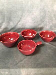 Vintage-Heinze-Made-By-McCoy-Red-Burgundy-Handle-Soup-Crock-amp-Bowls-LOT-Of-4