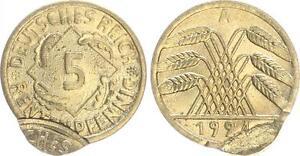 5 Peniques 1924A Fehlprägung Doppelprägung El Wertseite Vz-St , Rau