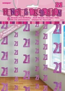 GLITZ-PINK-6-HANGING-DECORATIONS-21ST-BIRTHDAY-1-5M-HANGING-DECORATION-PARTY