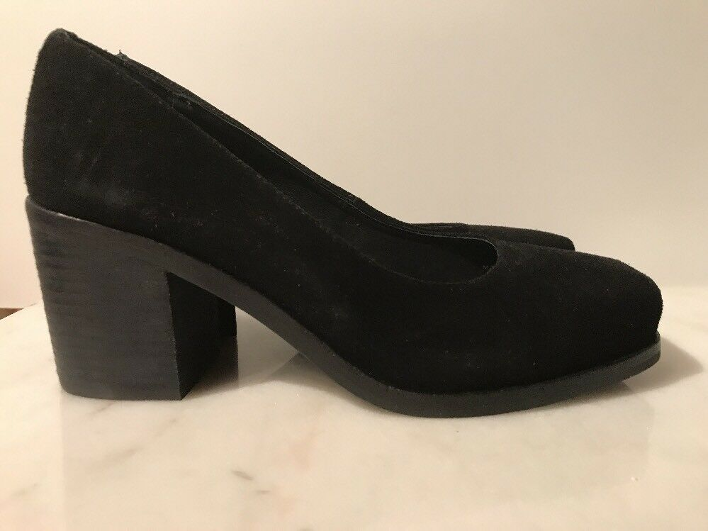 INTENTIONALLY BLANK FEELING BLACK SUEDE LEATHER / BLOCK HEELS SHOES 39 / LEATHER 9 NEW f2374e