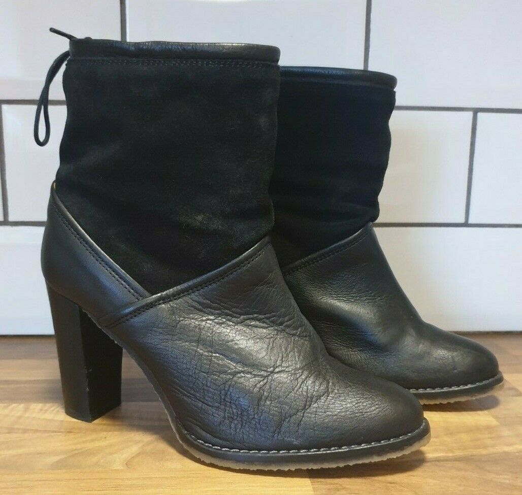 Hobbs NW3 schwarz leather and suede ankle Stiefel Größe 38 UK 5 Frieda heeled pull on