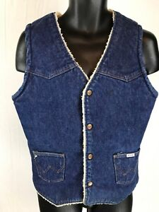 VINTAGE-WRANGLER-NO-FAULT-DENIM-SHERPA-Sanford-Set-VEST-Rockabilly-Work-Chore