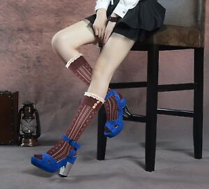 Ladies cotton above over knee Pelerine stockings knee high socks lace buttons