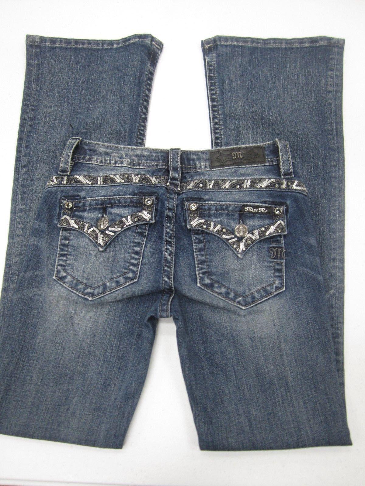 NWOT Miss Me Juniors  Girls Jeans JK761GB3 Boot Med bluee CUTE Bling 14 x 30