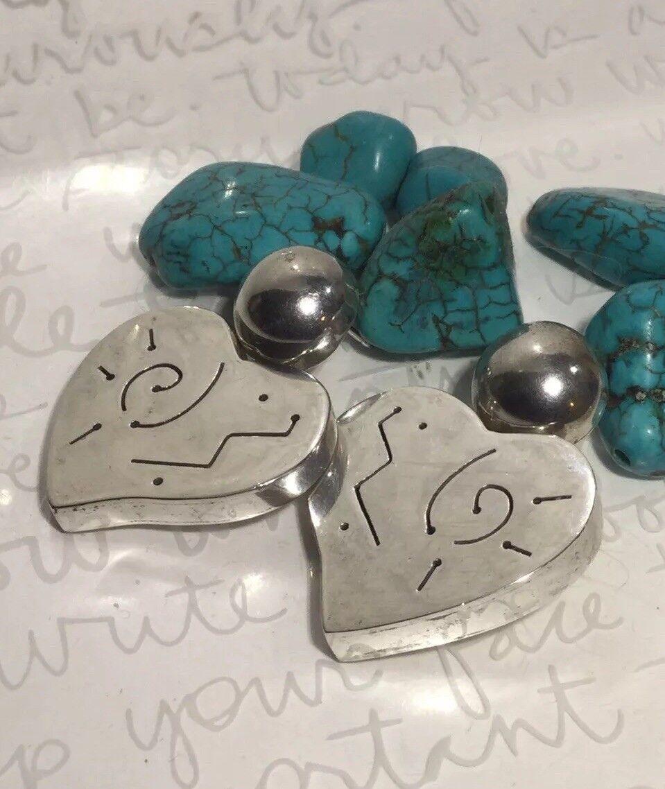 Far Fetched Modernist Cut Patterned 925 Sterling Heart Drop Post Earrings 16.5g