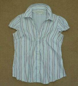River-Island-Striped-Pop-over-Blouse-Shirt-Top-Size-12