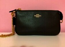 NWT Coach F53340 F30258 Large Wristlet 19 In Pebble Leather Black $150