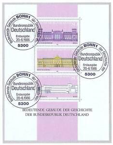 BRD-1986-Gebaeude-Block-Nummer-20-mit-sauberen-Bonner-Ersttags-Sonderstempeln