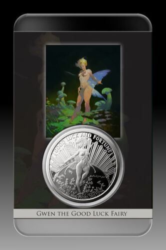 1 OZ .999 Gwen the Good Luck Fairy Sculpted Proof Tom Grindberg Silver Coin