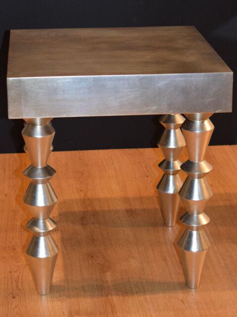 Tavolino da salotto in legno foglia argento, made in Italy, fatto a mano