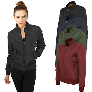 Urban Classics Women's Diamond Nylon Bomber Flight Jacket TB806 ...