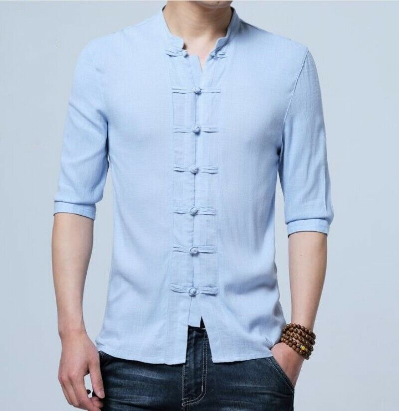 a9d8032f2 Mens Vintage Hanfu Shirts Stand Collar Casual Slim Fit Half Sleeve Tops  Shirts nogwxz1947-Casual Button-Down Shirts