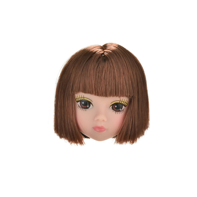 1Pc Doll Head Fashion Flaxen Short Hair Students Head Wigs For s DollHsa
