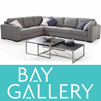Large Grey Retro Fabric Corner Modular Lounge Suite Sofa Couch Furniture Setting