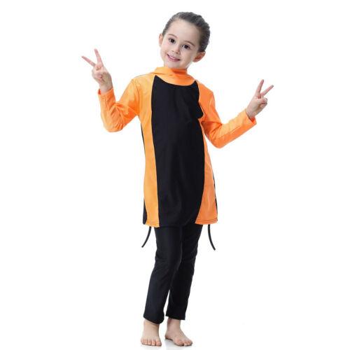 Muslim Kids Girls Modest Swimwear Islamic Swimsuit Beachwear Swimming Clothes