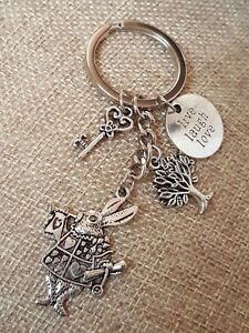 Alice-in-Wonderland-Rabbit-Key-Tree-keychain-Keyring-Charm-Gift-Live-Laugh-Love