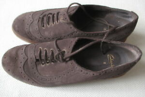 Style Brogue Clarks Condition Mid 6 Grey Uk nubuck Suede Mint Shoe Ladies OF55q
