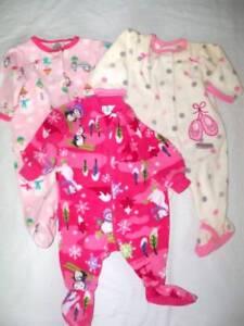 79b336d02 Lot 3 Girls 0 3   3 mo Carters Pajamas Sleepers and Fleece Childrens ...