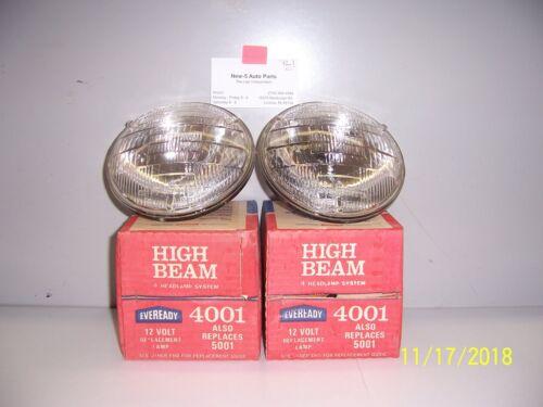 "4001-5001 12 VOLT HI BEAM HEADLAMPS  5-3//4/"" DIAMETER FOR 4 HEADLAMP SYSTEM  NOS"