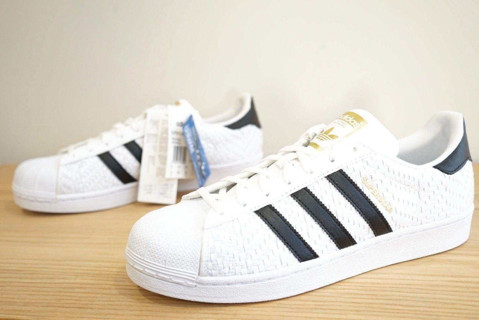 Adidas Superstar Originals blancoo Negro Tejido Zapatillas para hombre Talla 9.5 UK (qbx)