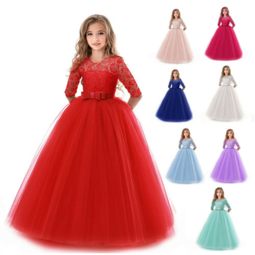 Flower Girl Dress Princess Party Wedding Bridesmaid Formal Kid Gown Long Dresses