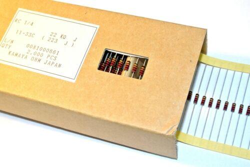 22K 0.25W 5/% Carbon Composition Resistors RC1//4223JTB KAMAYA QTY=10pcs