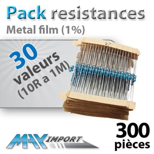30 valeurs Compatible Arduino Pack resistances 1//4 Watt 300 ou 600pcs