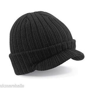 beechfield black peak beanie beany hat cap - warm winter headwear 69ba55c3da5