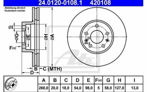 2x ATE Bremsscheiben vorne belüftet 260mm für CITROEN CX 24.0120-0108.1