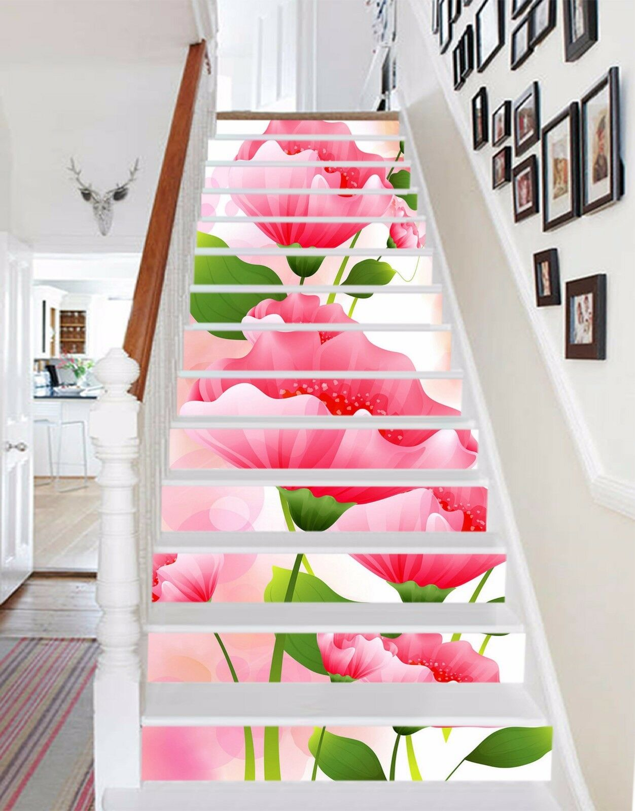 3D rot flower 7 Stair Risers Decoration Photo Mural Vinyl Decal Wallpaper UK